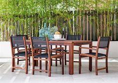 7pce Harrison Table & Havana Sling Chair Kwila Setting