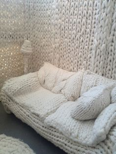 On a cold rainy day like today, this looks especially inviting. Wool House by Annie Belle, knit from wool roving.