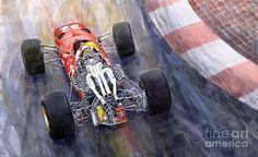 Yurly Shevchuk WATERCOLOR Ferrari 312 F1 1967 Painting