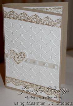 I designed and created this using Stampin Up! stamps from Delicate Details and Sealed with love. The embossing folder is Happy Hearts.