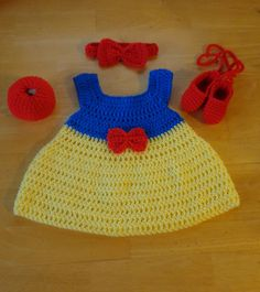 Snow White Crochet Baby Dress, Headband, Slippers & Apple Handmade Photo Prop #Handmade #DressyEverydayphotoprop