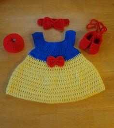 Snow White Crochet Baby Dress, Headband, Slippers & Apple Handmade Photo Prop #Handmade #DressyEverydayphotoprop
