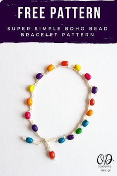 Super Simple Boho Bead Bracelet Pattern https://oombawkadesigncrochet.com/2017/05/super-simple-boho-bead-bracelet-pattern.html
