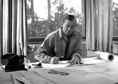 Alvar Aalto in his studio, 1945.