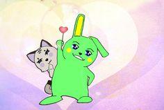14 february green bunny and kitty