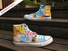 DRAGON BALL z Son Goku Super Saiya Shoes by Zoehandpaintedshoes, $150.00