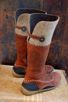 boho Suede felted wool moccasin boot