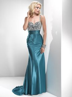 Formal Evening Separates | Teal Satin Beaded Empire Waist Prom Dress - Unique Vintage - Prom ...