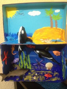 One of Georgia's Regions: Ocean Diorama - love the whale jumping out of the water! Ocean Projects, Animal Projects, Science Projects, School Projects, Projects For Kids, Crafts For Kids, Ocean Diorama, Ecosystems Projects, Aquarium Craft