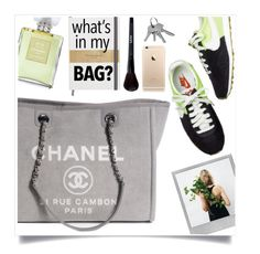 """""""What's in my Chanel bag ?"""" by kelly-m-o ❤ liked on Polyvore featuring Chanel, Polaroid, GREEN, grey, inmybag and falltrend"""