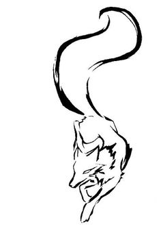 Cute tribal running fox tattoo design
