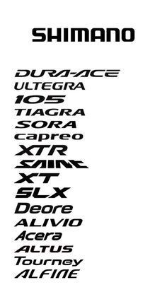 Shimano 2011 logo + typography of various groupsets for road