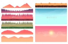 Landscape Constructor Cartoon Elements by VitaliyVill Cartoon nature landscape elements set, platform, trees, sky, hills and forest clip art, isolated on white,2d game application. Vec