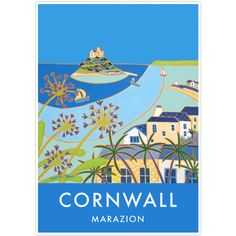 Vintage Style Seaside Travel Art Poster by Joanne Short of Marazion, Cornwall