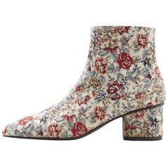 MANGO Floral jacquard ankle boots (€84) ❤ liked on Polyvore featuring shoes, boots, ankle booties, beige, short boots, mid heel ankle boots, side zipper boots, mid heel ankle booties and rubber sole boots