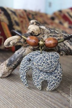 Колье, бусы ручной работы. Ярмарка Мастеров - ручная работа. Купить Колье-чокер из полимерной глины Каменный слон. Handmade.