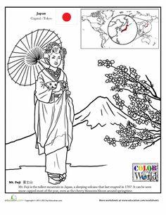 Worksheets: Color the World! Mt. Fuji