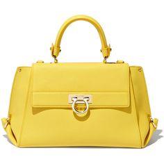 Salvatore Ferragamo Medium Sofia ($2,250) ❤ liked on Polyvore featuring bags, handbags, shoulder bags, gold purse, yellow handbag, yellow purse, salvatore ferragamo purse and gold handbag