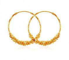 Beaded Gold Hoop Earrings Hoops