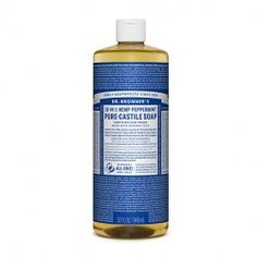 Dr Bronners - 18 in 1 Pure Castile Peppermint Liquid Soap Organic Body Wash, Natural Body Wash, Natural Hair, Castile Soap Uses, Peppermint Soap, Cleaning Wood Floors, Organic Coconut Oil, Organic Oils, Liquid Soap
