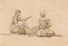 Paul Sandby, 1731-1809, British, Two Girls Seated, undated, Graphite and brown wash on medium, beige, slightly textured wove paper, Yale Center for British Art, Paul Mellon Collection