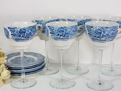 Vintage teacup wine glasses / tea cup wine glass / wedding wine glass / high tea cup / set of 6 Liberty Blue / repurposed / upcycled. $132.00, via Etsy.
