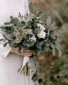 Stunning greenery bridal bouquet for a country wedding – Best Wedding Ceremony Ideas White Wedding Bouquets, Wedding Flower Arrangements, Bride Bouquets, Flower Bouquet Wedding, Floral Wedding, Greenery Bouquets, White Flowers Bouquet, Green And White Wedding Flowers, Bridesmaid Bouquet