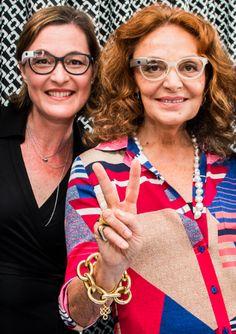 Ms. Muller and Ms. Von Furstenberg (Photo courtesy of Marchon Eyewear)