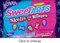 Wonka Sweet Tarts Skulls and Bones.  A great Halloween candy sweet tarts in the shape of skulls and bones. 12 oz bag in green apple , grape and orange flavors