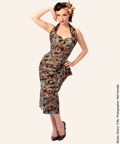 1940s Sarong Floral Dress from Vivien of Holloway