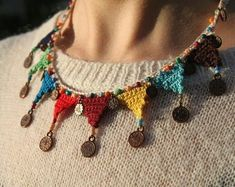 Colorful Authentic Crochet Necklace with Figure and Beads Crochet Jewelry Custom Made Gift For Her Mothers Day Gift Unique Accessory Bead Crochet, Crochet Crafts, Crochet Necklace, Diy Crafts, Textile Jewelry, Fabric Jewelry, Custom Made Gift, Schmuck Design, Crochet Accessories