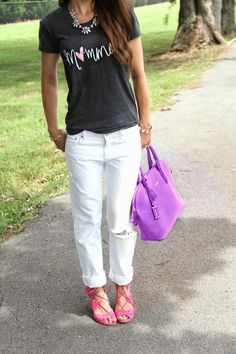 Kiss Me Darling: Proud to be a Momma featuring Mindy Maes Market momma tee, boyfriend denim, pink heels, strappy heels, purple bag