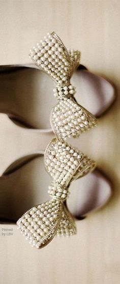 Love these...Valentino Pearl Bow Heels | LBV ♥✤ | BeStayBeautiful Found on bellethemagazine.com. #Valentino #heels