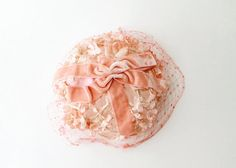 1950's Peach Pink Veiled Floral Hat by OiseauVintage on Etsy, $38.00