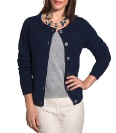 Cable Crew Neck Cardigan for Women