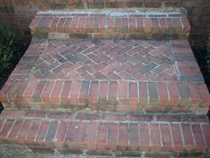 Deteriorated Front Steps - and how to properly install a brick porch and steps… Brick Porch, Brick Walkway, Front Walkway, Front Yard Landscaping, Landscaping Ideas, Front Porch Steps, Back Patio, Brick Steps, Concrete Pavers