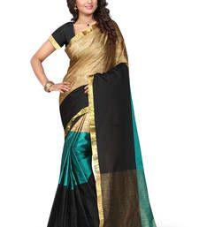 Buy rama green hand woven art silk saree with blouse banarasi-saree online