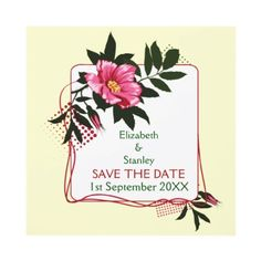 Wild pink #rose floral #wedding Save the Date announcement. #SavetheDate
