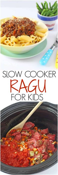 A super easy slow cooker ragu recipe with one secret ingredient. No frying required and everything is cooked in one pot! Healthy Toddler Meals, Easy Family Meals, Healthy Meals For Kids, Healthy Recipes, Savoury Recipes, Slow Cooker Recipes, Cooking Recipes, Slow Cooking, Meal Recipes