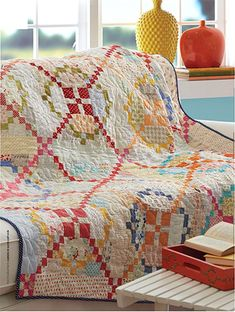 Irish chain quilt, love the colors