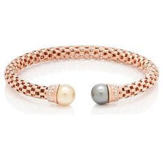 Multi South Sea Rose Gold Plate Sterling Silver Bracelet