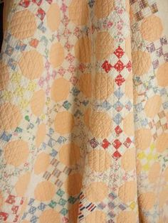 Wonderful old 9 patch civil war era love it.nine patch & snowball blocks on point Old Quilts, Antique Quilts, Scrappy Quilts, Vintage Quilts, Baby Quilts, Jellyroll Quilts, Quilting Projects, Quilting Designs, Quilting Ideas