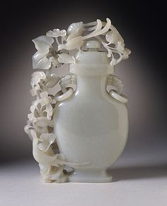 Lidded Vase (Ping) with Birds and Flowers, China, Middle or late Qing dynasty, about 1700-1911, Abraded jade