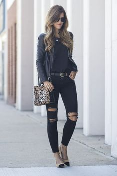 All black: leather, lace and ripped jeans