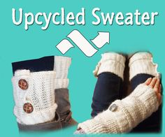 If you want some arm warmers, boot toppers or leg warmers and don't want to spend any money - you can tweak an old sweater to make some great new things! That is what I did here with a sweater that was too small on me - I upcycled & transformed it into a pair of boot toppers and arm warmers with pockets for my phone! You'll need a decent sewing machine, scissors or rotary cutter, elastic thread, regular needle, thread & buttons! If you were to buy the boot toppers or arm warmers in t...