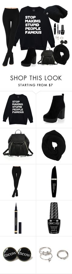 """black Fashion"" by penguinx14 ❤ liked on Polyvore featuring Rebecca Minkoff, Wyatt, Max Factor, Yves Saint Laurent, OPI and Forever 21"
