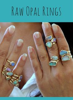 Raw Opal Ring, Raw Stone Ring, Stacking Rings, Stackable Gemstone Ring, Opal, Australian Opal Ring, Womens Ring, Rough Opal Ring, Gift For Her #ad