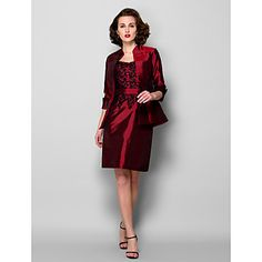 Sheath/Column Scoop Knee-length Taffeta Mother of the Bride Dress With A Wrap (967257) - AUD $ 112.79