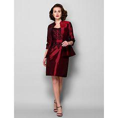 Sheath/Column Scoop Knee-length Taffeta Mother of the Bride Dress With A Wrap (967257) – USD $ 99.99