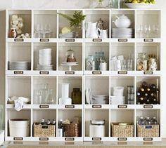 VITALITY KITCHEN Fantastic kitchen storage! Don't custom make it, just buy a white Expedite shelf from IKEA.
